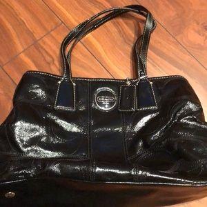 Like new black patent leather Coach shoulder bag